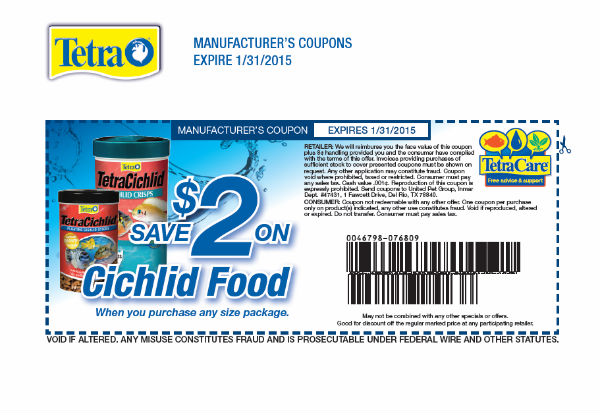 Tetra Coupon for Cichlid Foods $2 Rebate
